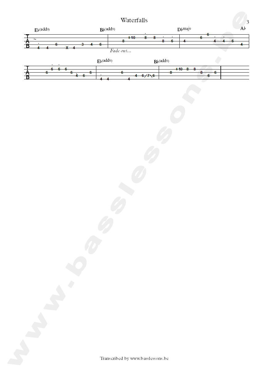 tlc wetrfalls bass tab part 3