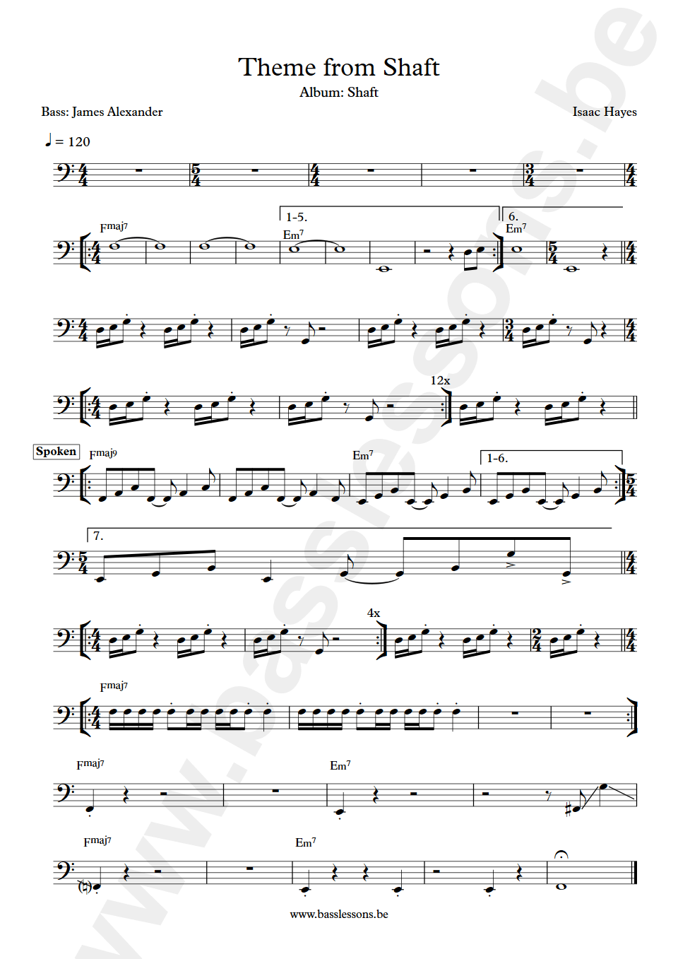 Theme from shaft bass transcription