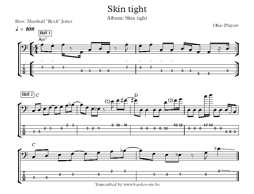 ohio players skin tight bass transcription