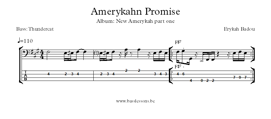 Erykah Badu Amerykahn Promise bass transcription