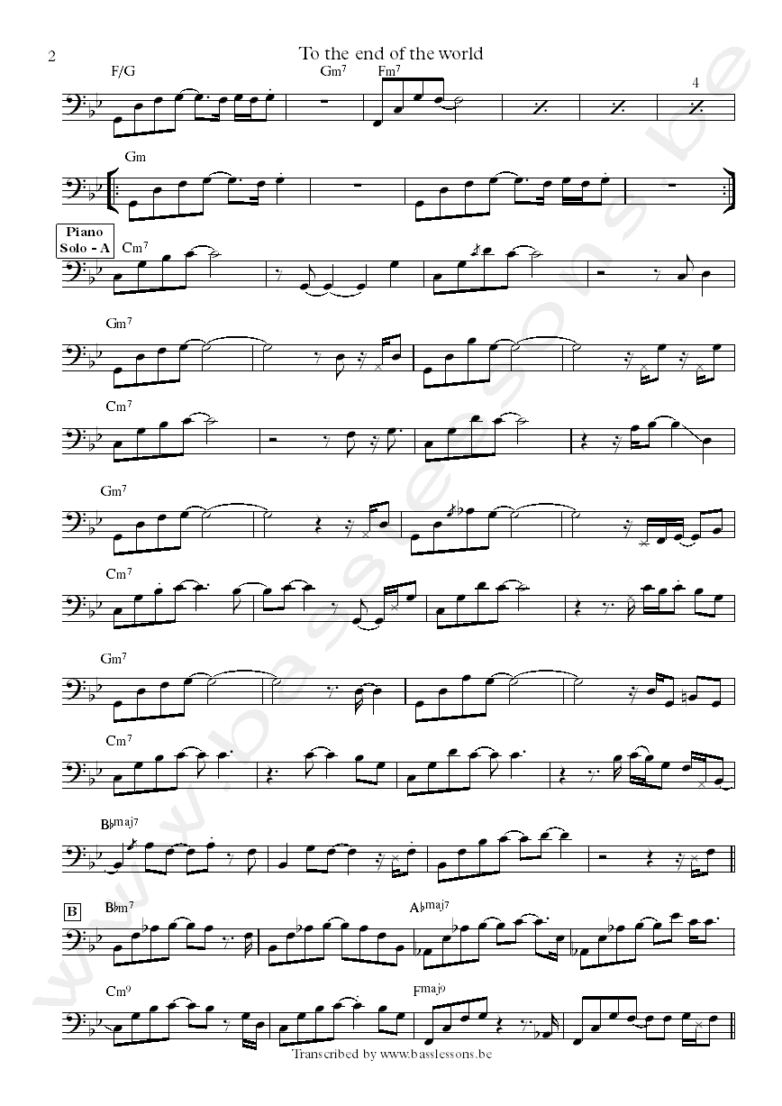 Pat metheny to the end of the world steve rodby transcription