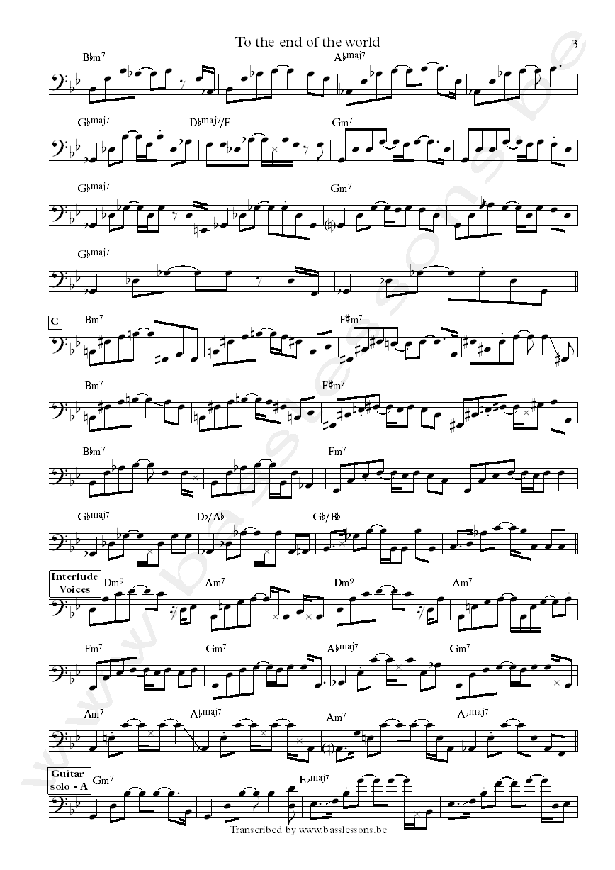 Pat metheny to the end of the world bass transcription part 3