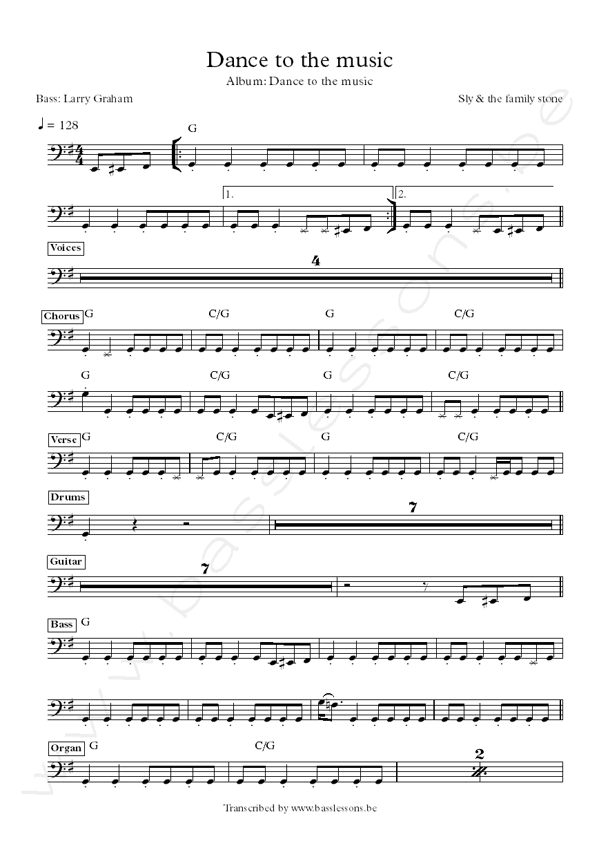 Dance to the music bass transcription