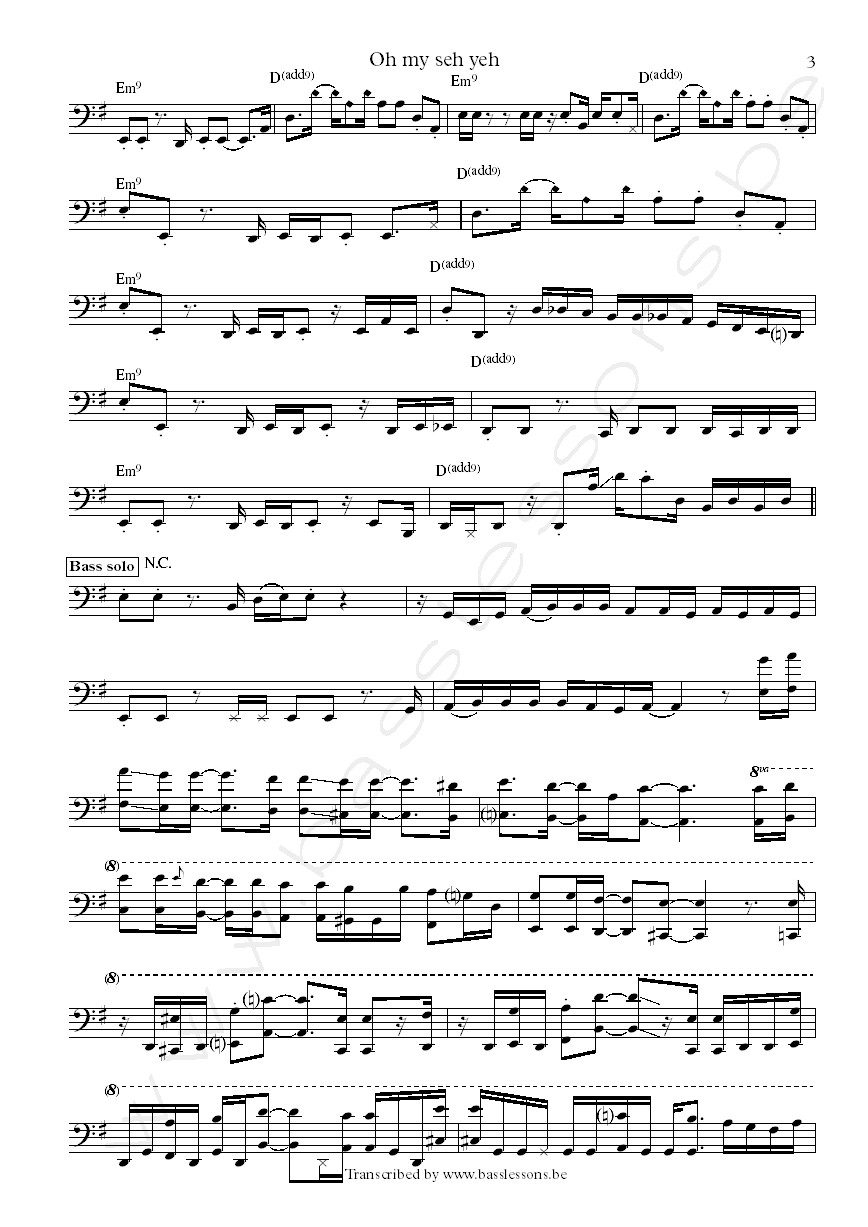Roy hargrove crisol oh my sey yeh bass transcription Part 3