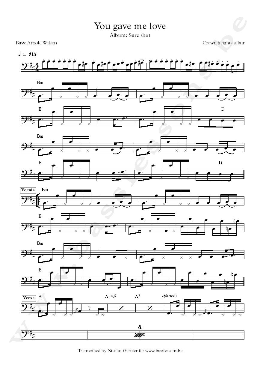 Crown heights affair you gave me love bass transcription