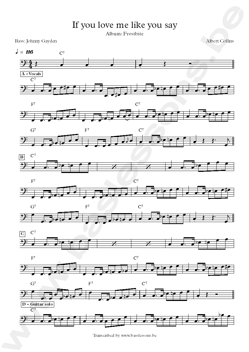 Albert Collins If You Love Me Like You Say bass transcription