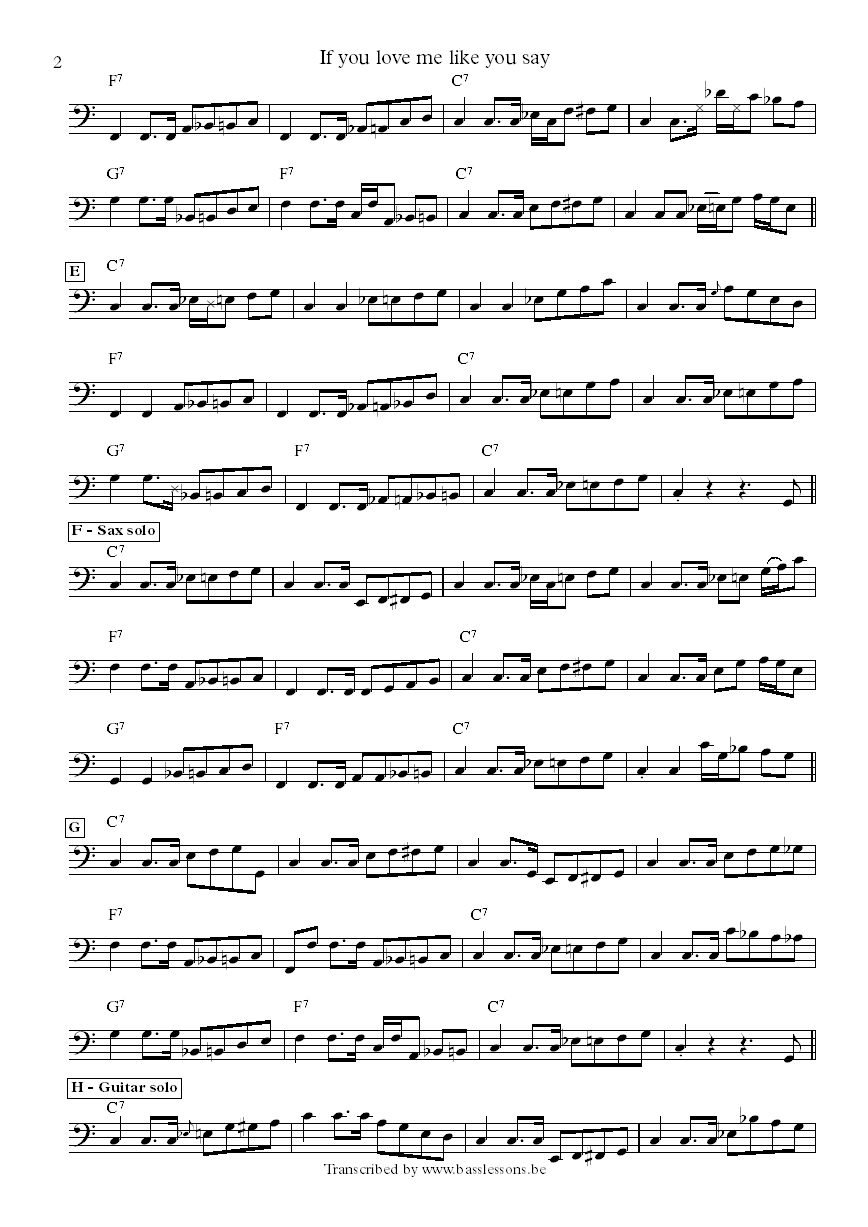 Albert Collins If You Love Me Like You Say bass transcription part 2