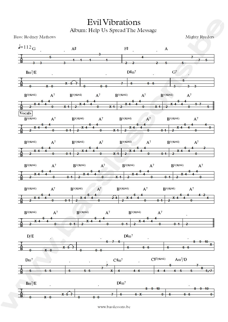 Mighty Ryeders Evil vibrations bass tab