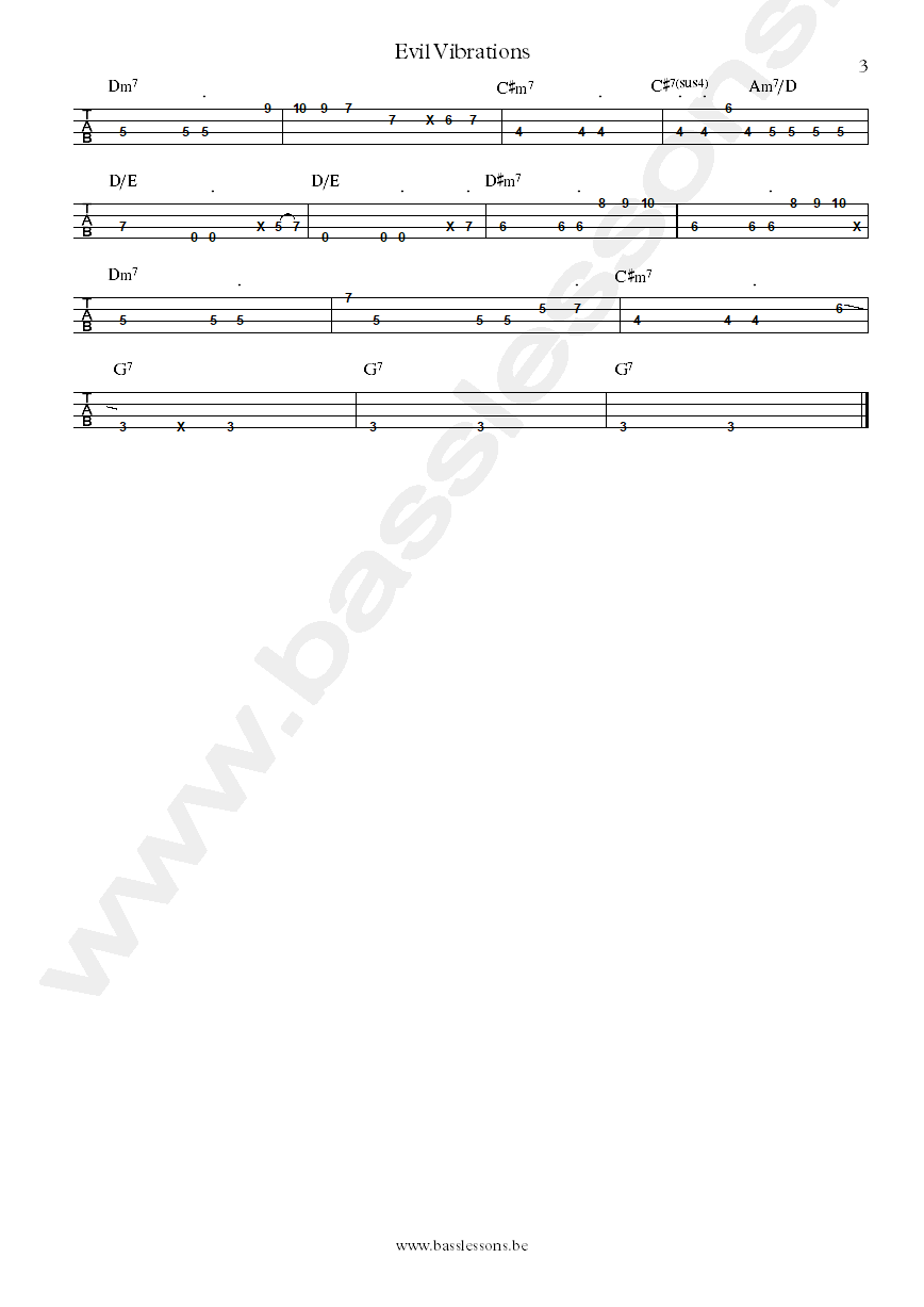 Mighty Ryeders Evil vibrations bass tab part 3