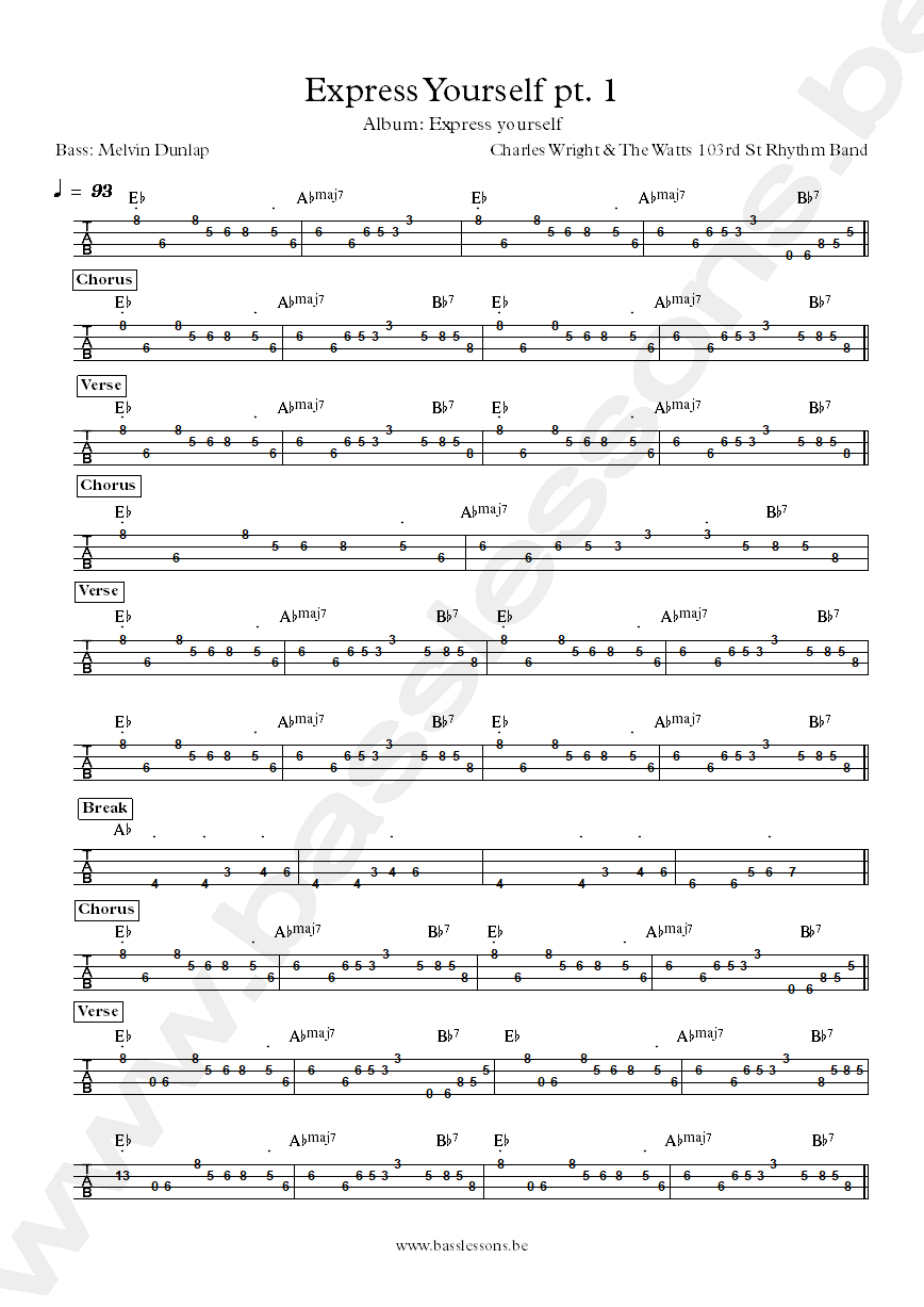 Charles Wright Express yourself bass tab