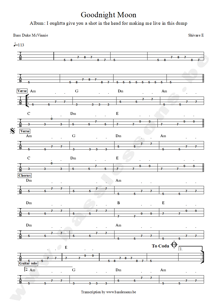 Shivaree - Goodnight Moon bass tab