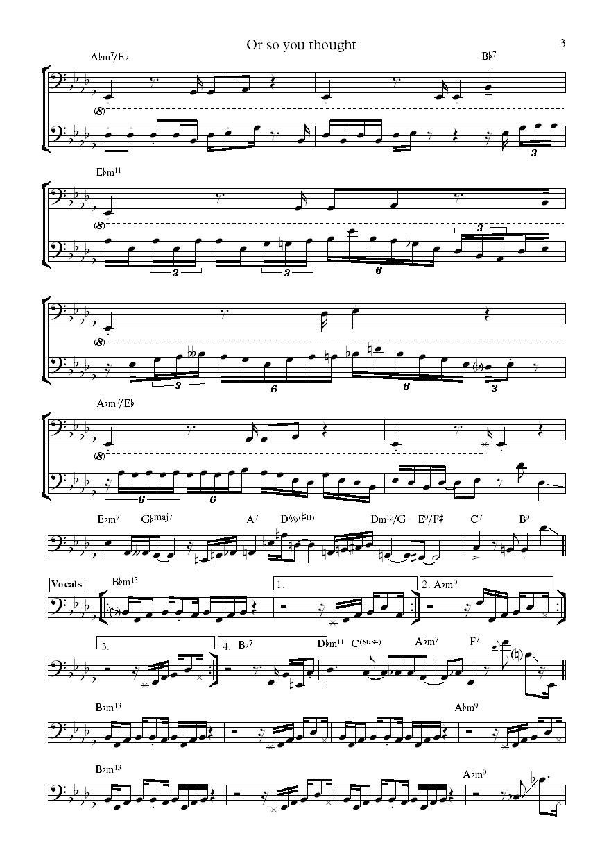 Christian McBride Or So You Thought bass transcription part 3