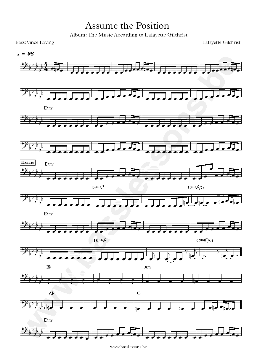 Lafayette Gilchrist Assume the position bass transcription