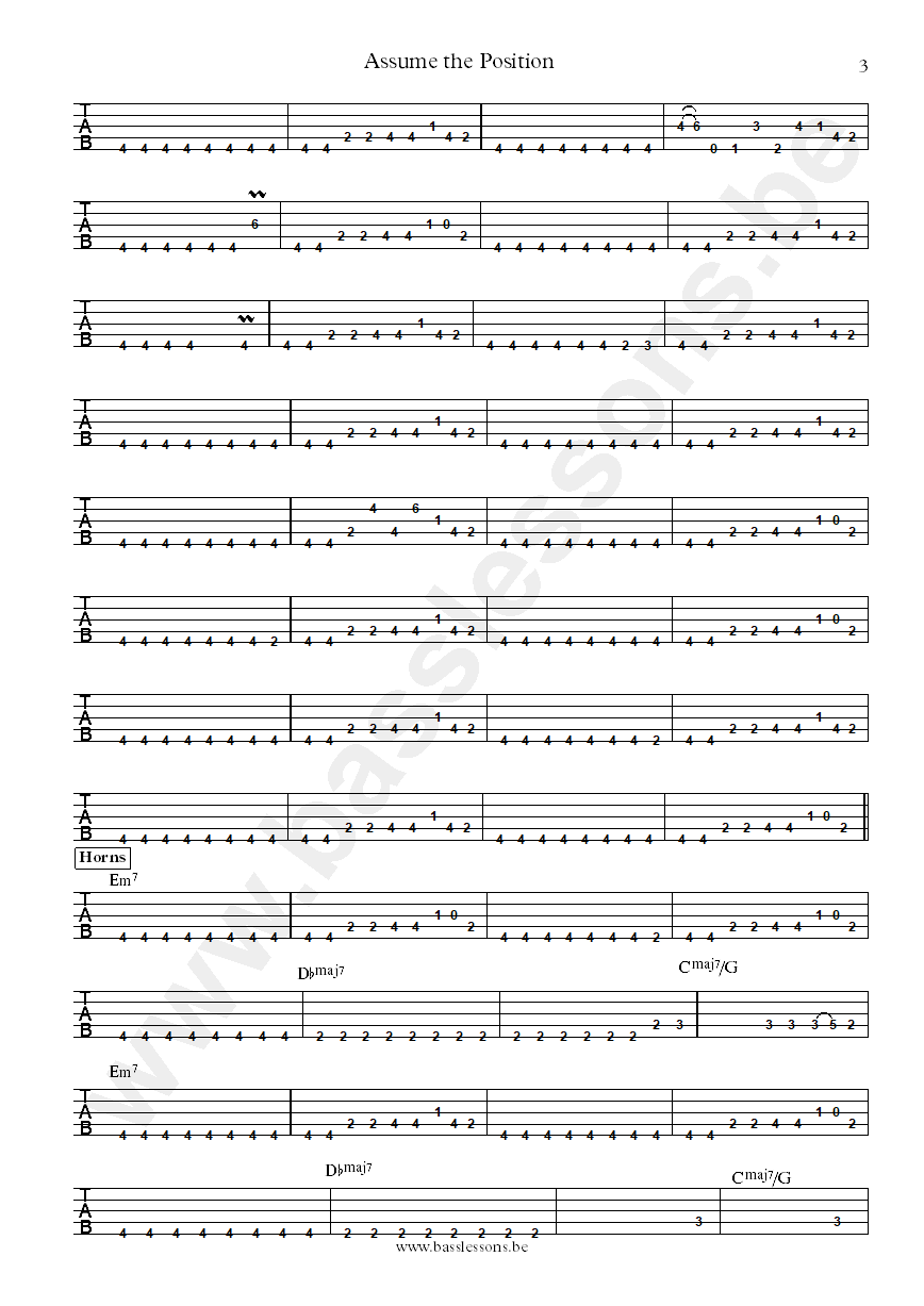 Lafayette Gilchrist Assume the position bass tab part 3