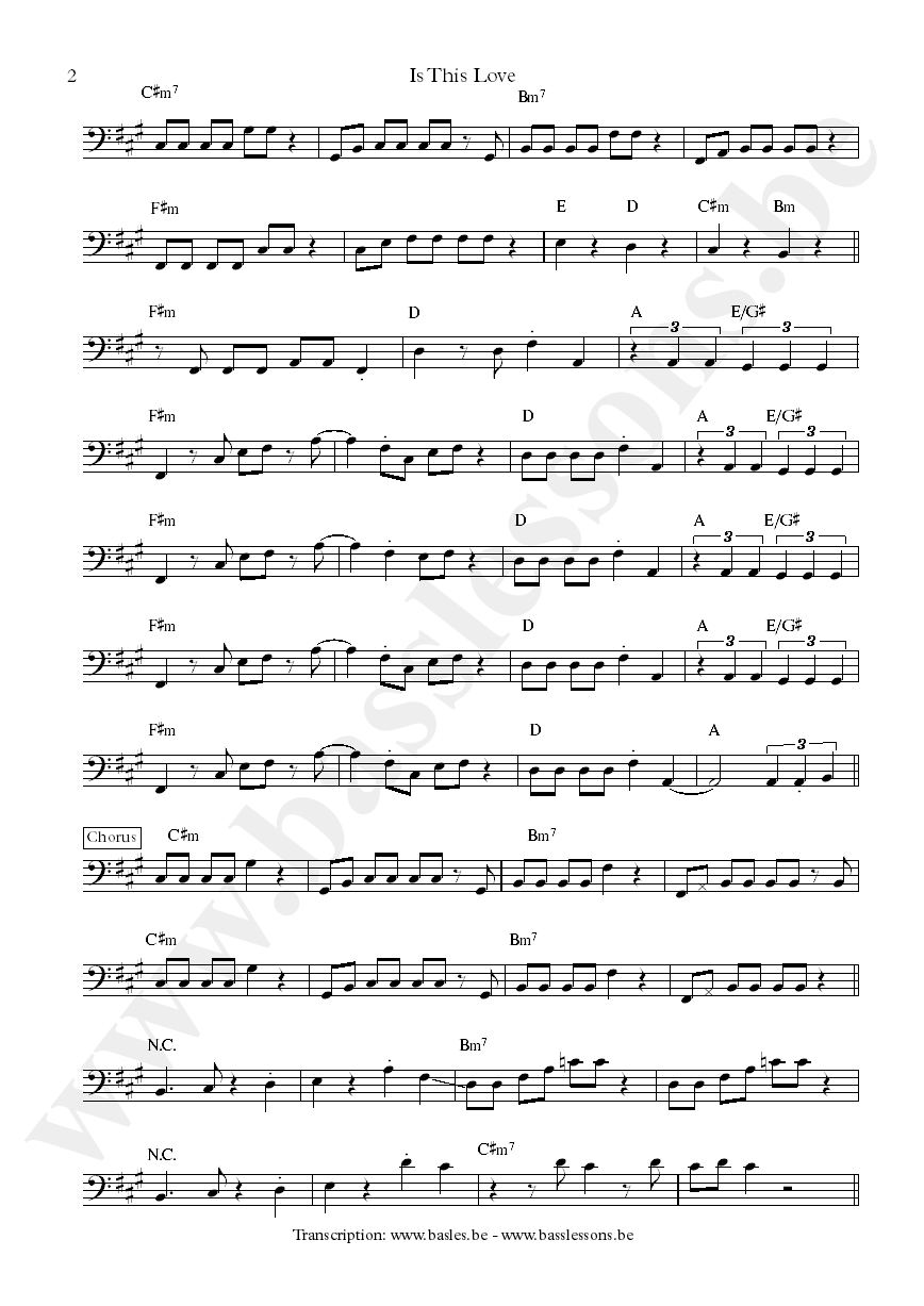 Bob Marley is this love bass transcription part 2