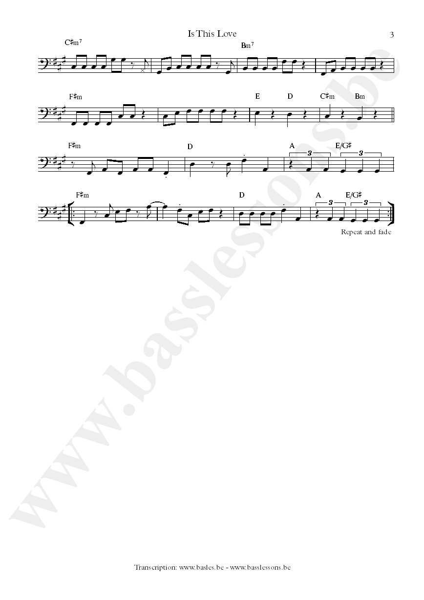 Bob Marley is this love bass transcription part 3