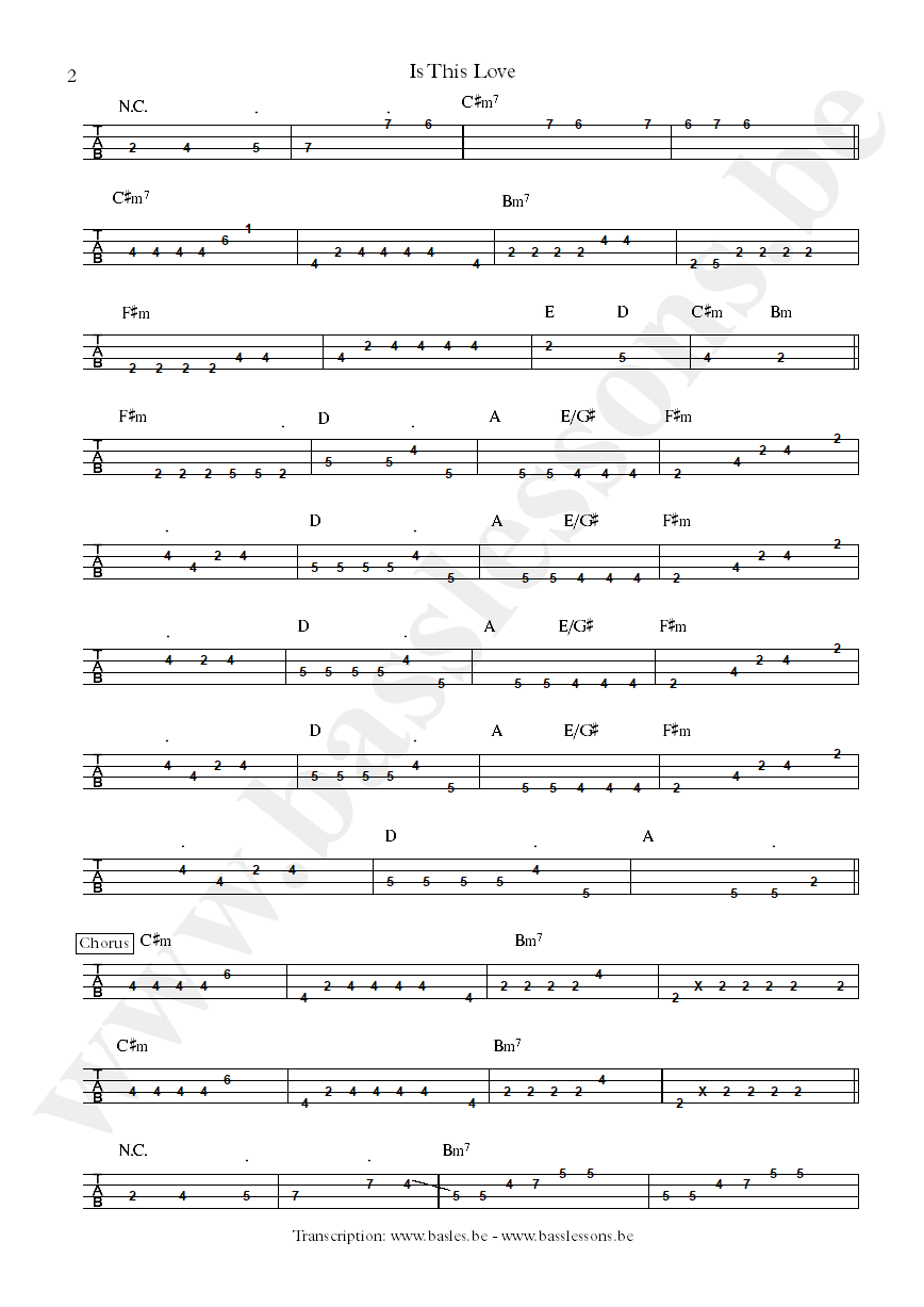 Bob Marley is this love bass tab part 2