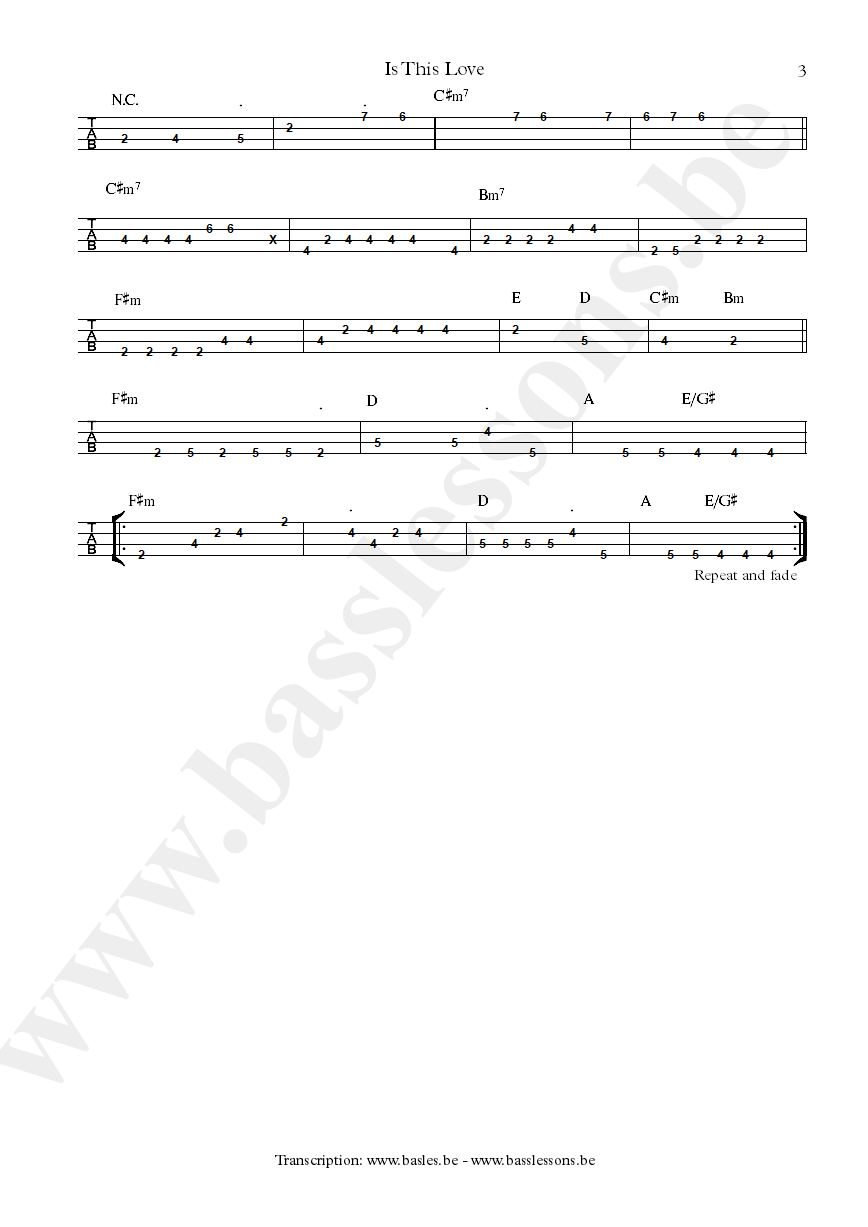 Bob Marley is this love bass tab part 3