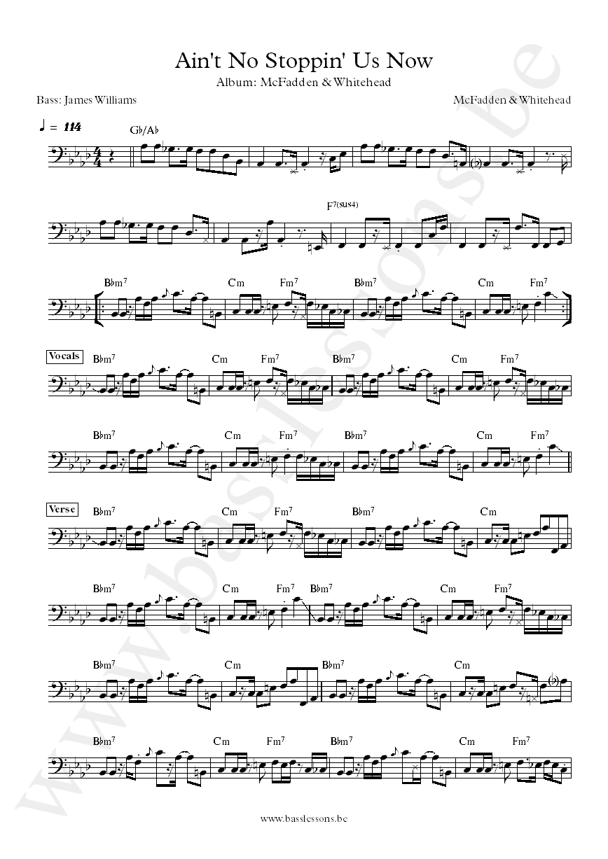 McFadden & Whitehead Ain't No Stoppin Us Now James Williams bass transcription