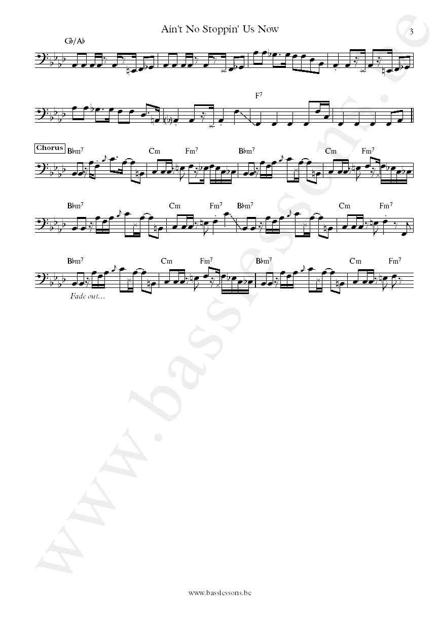 McFadden & Whitehead Ain't No Stoppin Us Now James Williams bass transcription part 3