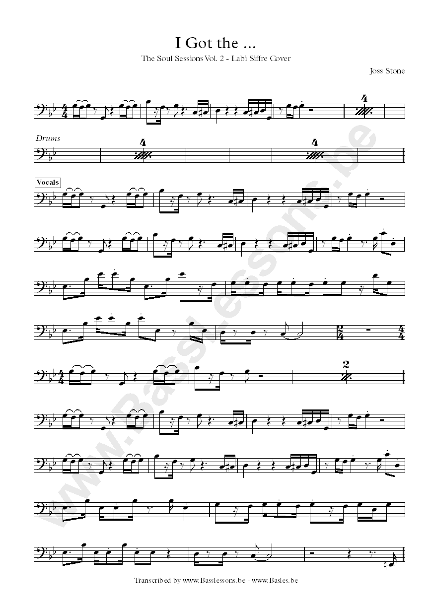 Joss Stone Bass Transcription