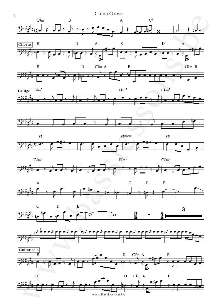 China Grove - Tiran Porter bass transcription