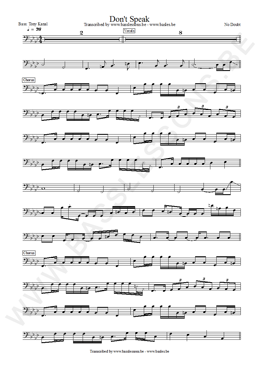 No Doubt Bass Transcription