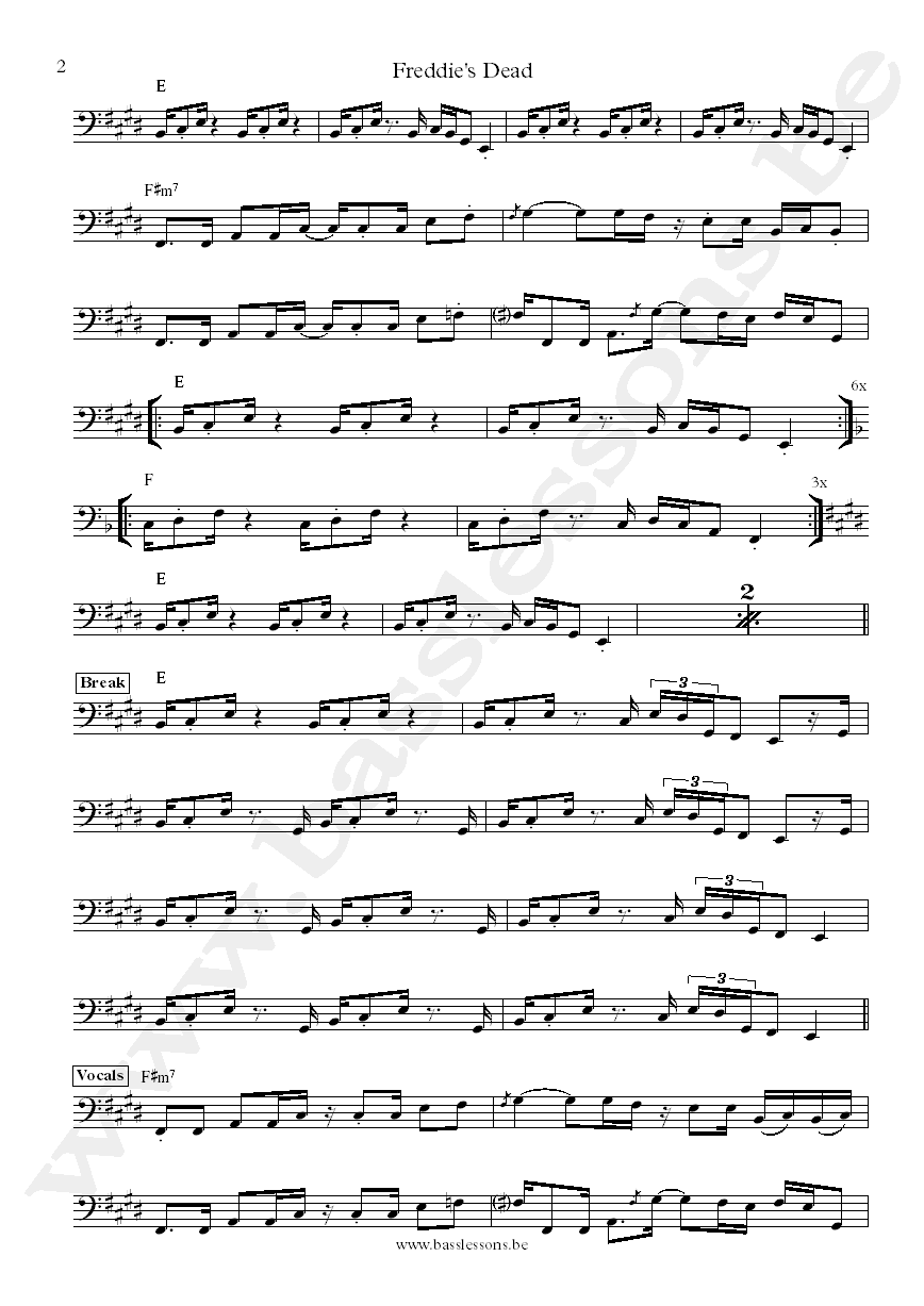 Curtis Mayfield - Freddie's Dead sheet Music